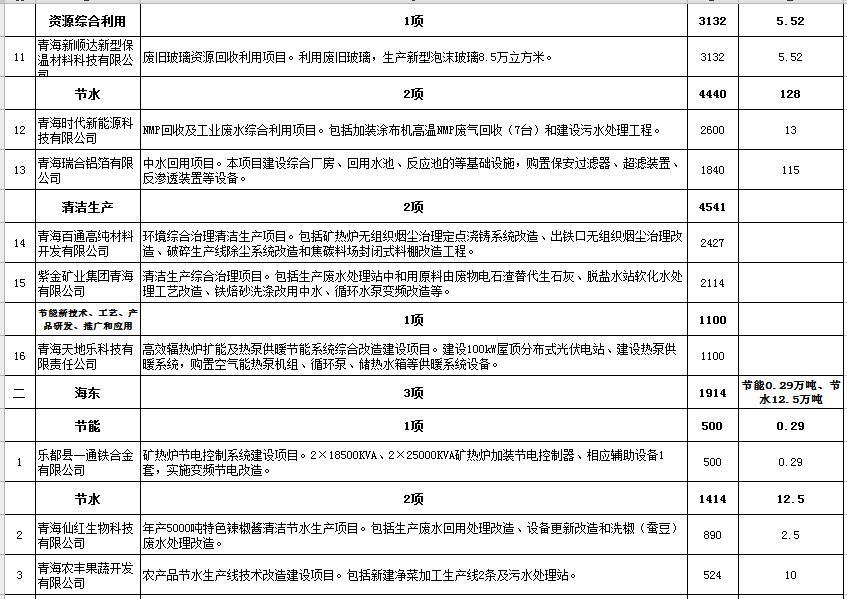 2016年青海省节能技术改造财政奖励专项资金拟支持项目