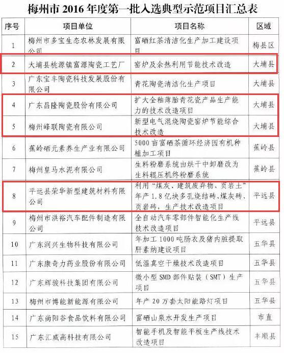 广东梅州市2016年第一批节能减排财政政策综合示范城市典型示范项目