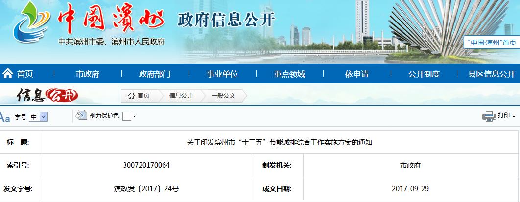 """《滨州市""""十三五""""节能减排综合工作实施方案》"""