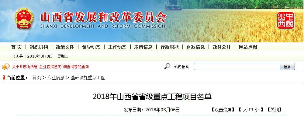 2018年山西省省级重点工程项目名单