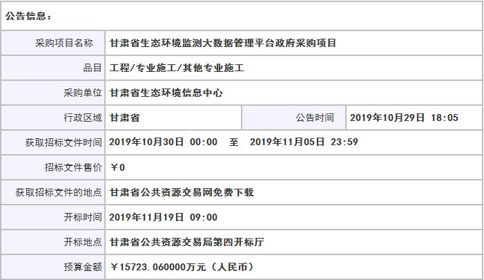 <strong>1.57亿元!甘肃省生态环境监测大</strong>