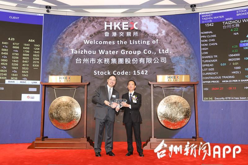 台州水务集团在港交所鸣锣上市!台州市级国企