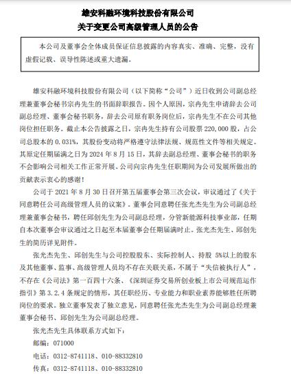 科融环境聘任张光杰先生为公司副总经理兼董事会秘书,聘任邱创先生为公司副总经理